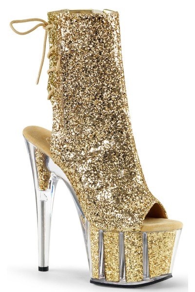 Gold Glittered Platform Ankle Boot at Mild to Wild Womens Shoes,  Shoes for Women from Flats to Extreme High Heels & Platforms