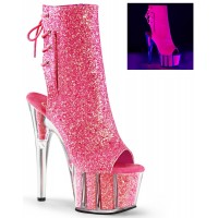 Neon Pink Glittered Platform Ankle Boot