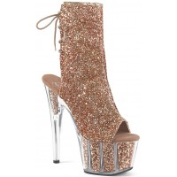 Rose Gold Glittered Platform Ankle Boot