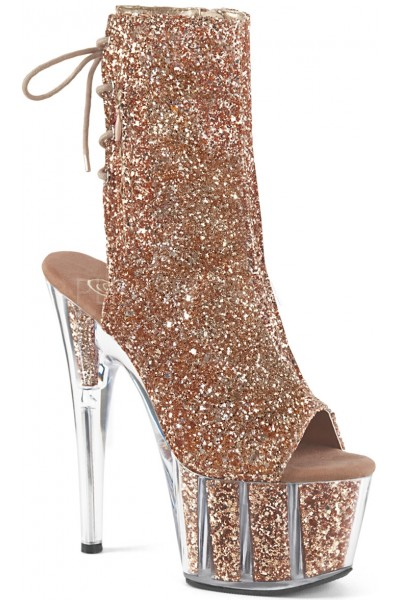 Rose Gold Glittered Platform Ankle Boot at Mild to Wild Womens Shoes,  Shoes for Women from Flats to Extreme High Heels & Platforms