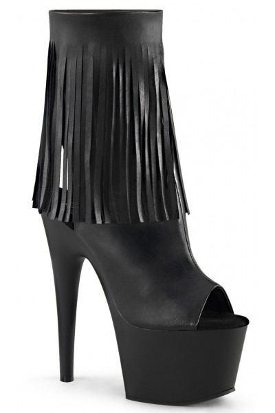 Fringed Black Peep Toe and Heel Platform Ankle Boot at Mild to Wild Womens Shoes,  Shoes for Women from Flats to Extreme High Heels & Platforms