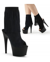 Fringed Black Suede Peep Toe and Heel Platform Ankle Boot
