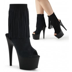 Fringed Black Suede Peep Toe and Heel Platform Ankle Boot Mild to Wild Womens Shoes  Shoes for Women from Flats to Extreme High Heels & Platforms