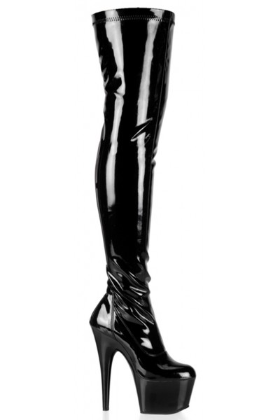 Adore Black Patent Thigh High Platform Boot at Mild to Wild Womens Shoes,  Shoes for Women from Flats to Extreme High Heels & Platforms