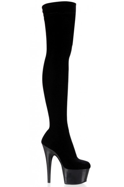 Adore Black Velvet Thigh High Platform Boot at Mild to Wild Womens Shoes,  Shoes for Women from Flats to Extreme High Heels & Platforms