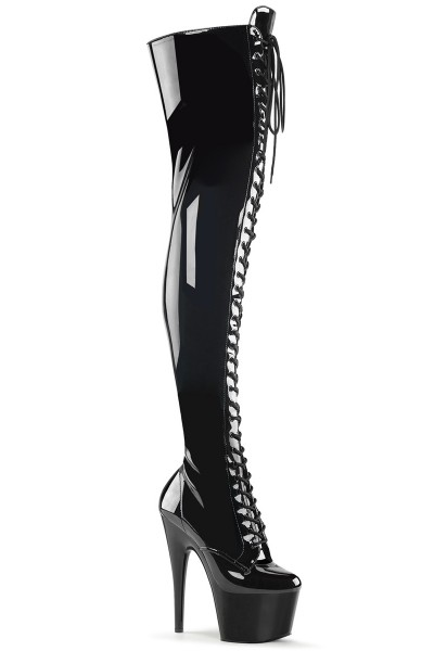 Adore Black Lace Up Thigh High Platform Boot at Mild to Wild Womens Shoes,  Shoes for Women from Flats to Extreme High Heels & Platforms