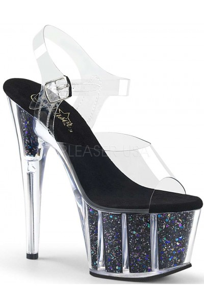 Black Confetti Filled Clear Platform Adore Sandals at Mild to Wild Womens Shoes,  Shoes for Women from Flats to Extreme High Heels & Platforms