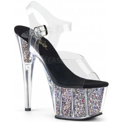 Confetti Filled Clear Platform Adore Sandals Mild to Wild Womens Shoes  Shoes for Women from Flats to Extreme High Heels & Platforms