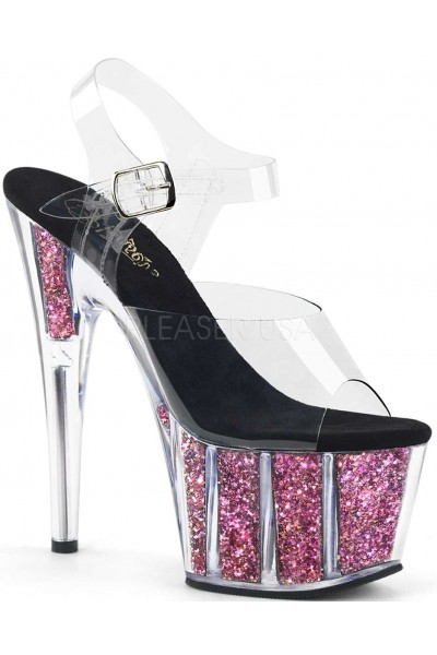 Pink Confetti Filled Clear Platform Adore Sandals at Mild to Wild Womens Shoes,  Shoes for Women from Flats to Extreme High Heels & Platforms