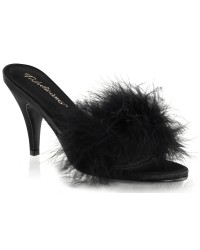 Amour Black Maribou Trimmed Slipper