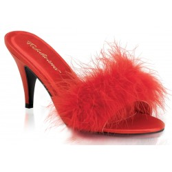 Amour Red Maribou Trimmed Slipper Mild to Wild Womens Shoes  Shoes for Women from Flats to Extreme High Heels & Platforms