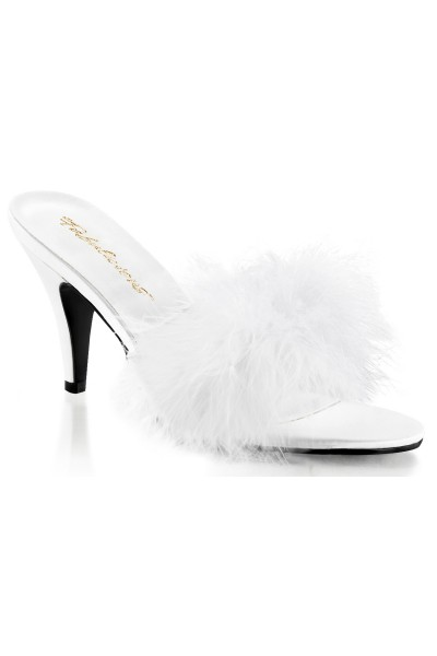 Amour White Maribou Trimmed Slipper at Mild to Wild Womens Shoes,  Shoes for Women from Flats to Extreme High Heels & Platforms