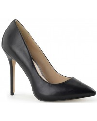 Amuse Black Faux Leather 5 Inch High Heel Pump
