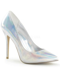 Amuse Silver Hologram 5 Inch High Heel Pump