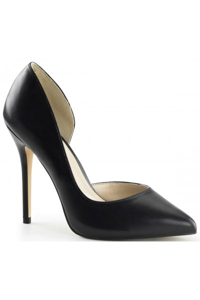 Amuse Black Faux Leather 5 Inch High Open Side Pump at Mild to Wild Womens Shoes,  Shoes for Women from Flats to Extreme High Heels & Platforms