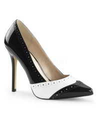 Spectator Black and White 5 Inch Heel Pump
