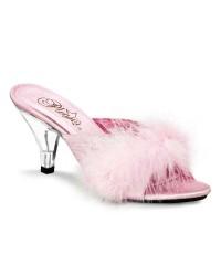 Belle Baby Pink Maribou Satin Slipper