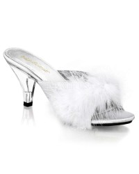 Belle White Maribou Satin Slipper