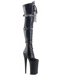 Beyond Black 10 Inch Buckled Thigh High Boots