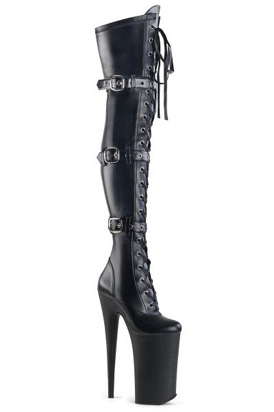 Beyond Black 10 Inch Buckled Thigh High Boots at Mild to Wild Womens Shoes,  Shoes for Women from Flats to Extreme High Heels & Platforms
