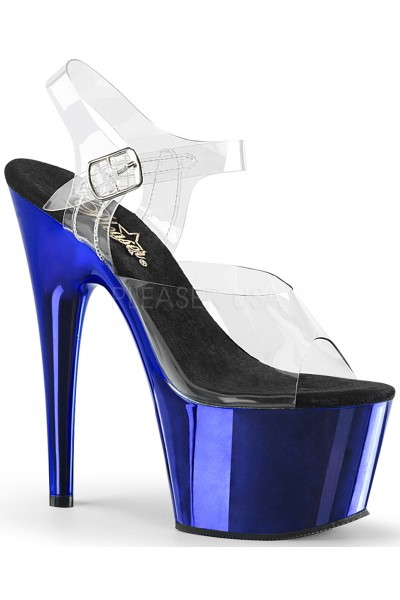 Blue Chrome Platform Clear Strap Platform Sandal at Mild to Wild Womens Shoes,  Shoes for Women from Flats to Extreme High Heels & Platforms