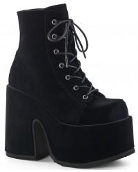 Black Velvet Camel Chunky Heel Platform Boots