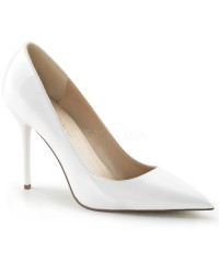 White Classique Pointed Toe Pump