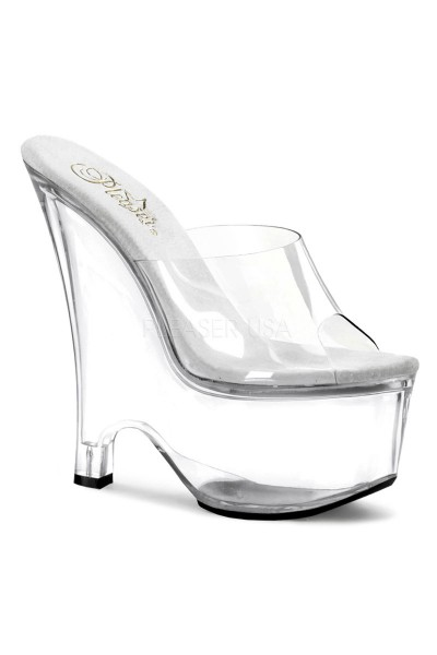 Beau Clear Wedge Peep Toe Mule at Mild to Wild Womens Shoes,  Shoes for Women from Flats to Extreme High Heels & Platforms