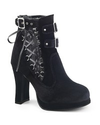 Corset Laced Black Velvet Crypto Gothic Ankle Boot