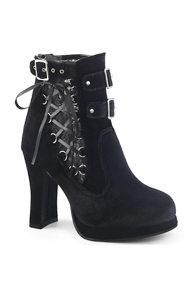 Corset Laced Black Velvet Crypto Gothic Ankle Boot at Mild to Wild Womens Shoes,  Shoes for Women from Flats to Extreme High Heels & Platforms