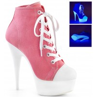 Pink and White High Heel Platform Sneaker