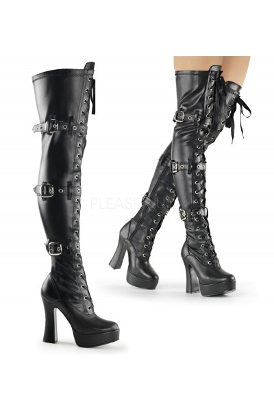 Electra Black Buckled Thigh High Platform Boots
