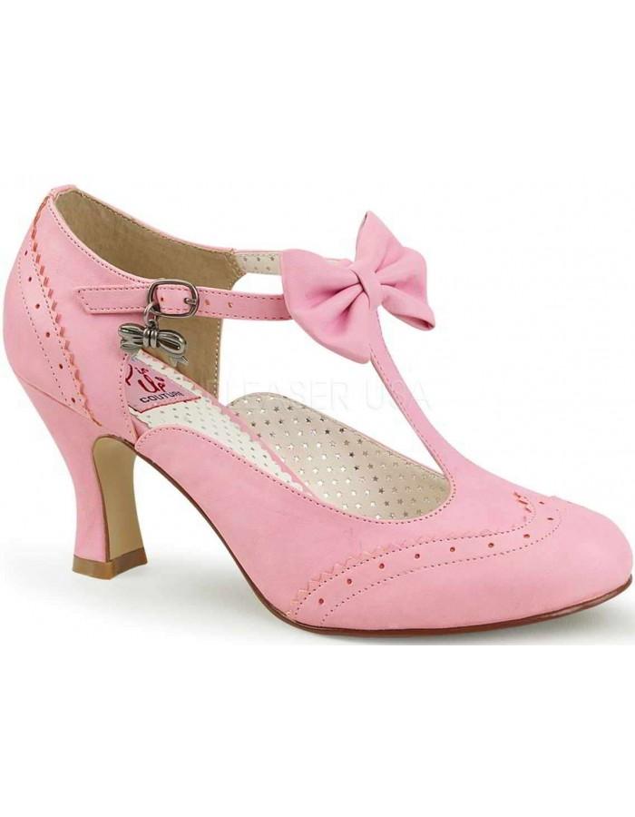 Flapper Pink T-Strap Pump 3 Inch Heel