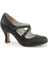 Cross Strap Flapper Black Vintage Heel Shoe