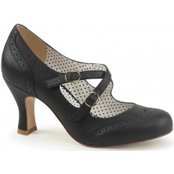 Cross Strap Flapper Black Vintage Heel Shoe