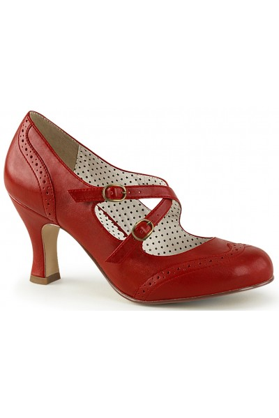 Cross Strap Flapper Red Vintage Heel Shoe at Mild to Wild Womens Shoes,  Shoes for Women from Flats to Extreme High Heels & Platforms