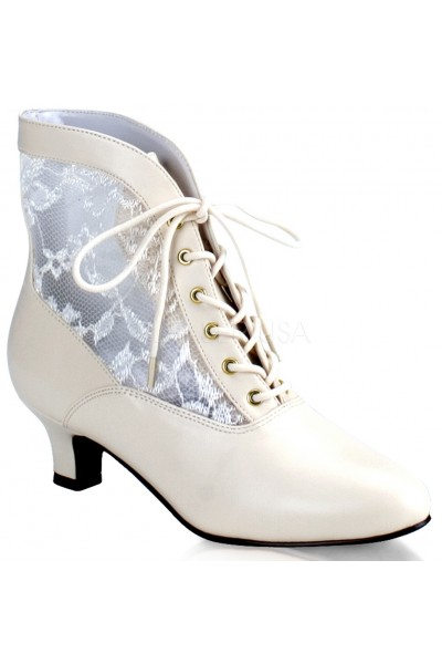 Victorian Dame Ivory Ankle Boot at Mild to Wild Womens Shoes,  Shoes for Women from Flats to Extreme High Heels & Platforms