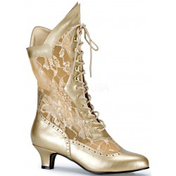 Victorian Dame Gold Lace Boot Mild to Wild Womens Shoes  Shoes for Women from Flats to Extreme High Heels & Platforms