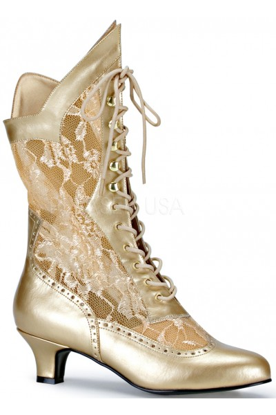 Victorian Dame Gold Lace Boot at Mild to Wild Womens Shoes,  Shoes for Women from Flats to Extreme High Heels & Platforms