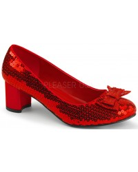 Dorothy Red Sequin 2 Inch Heel Pump