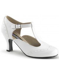 Flapper White T-Strap Pump