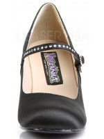 Flapper Black Satin Mary Jane Pump at Mild to Wild Womens Shoes,  Shoes for Women from Flats to Extreme High Heels & Platforms
