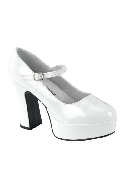 White Mary Jane Square Heeled Pump at Mild to Wild Womens Shoes,  Shoes for Women from Flats to Extreme High Heels & Platforms