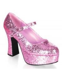 Baby Pink Mary Jane Glitter Square Heeled Pump