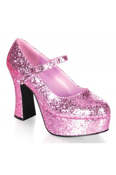 Baby Pink Mary Jane Glitter Square Heeled Pump at Mild to Wild Womens Shoes,  Shoes for Women from Flats to Extreme High Heels & Platforms
