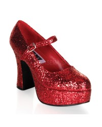Red Mary Jane Glitter Square Heeled Pump