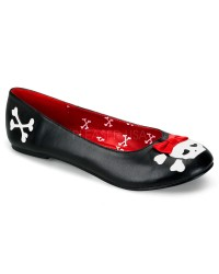 Skull and Crossbone Black Ballet Flat
