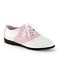 Saddle Shoe Pink and White Womens Flat Oxford
