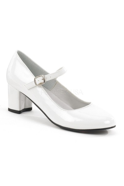 Schoolgirl White Mary Jane Pump at Mild to Wild Womens Shoes,  Shoes for Women from Flats to Extreme High Heels & Platforms
