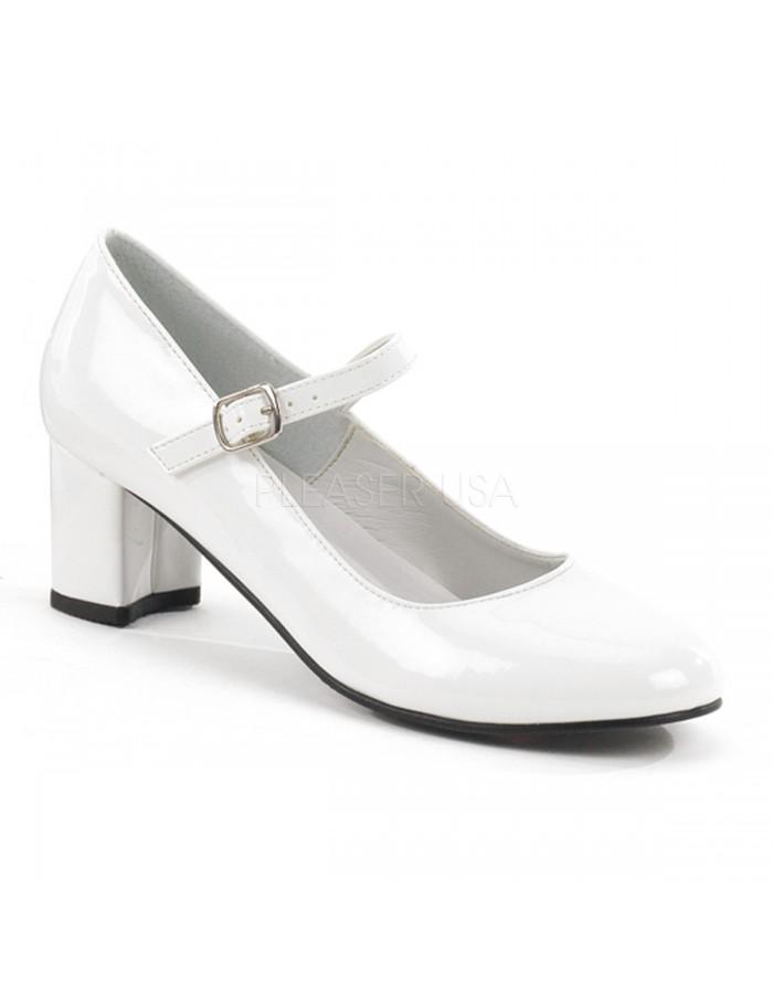 White Mary Jane Pump 2 Inch Square Heel
